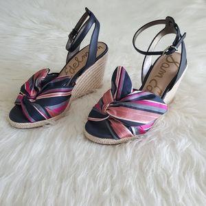 Sam Edelman Navy Pink Striped Aubrey Wedge Heel